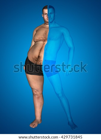 Concept, conceptual 3D illustration fat overweight vs slim fit diet with muscles young man blue background, metaphor weight loss, body, fitness, fatness, obesity, health, healthy, male, dieting, shape - stock photo