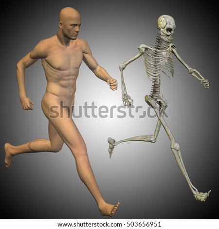 Concept conceptual 3D illustration of a human man with bones for anatomy, medicine or health, gray background, made of a skeleton and body as in a x-ray metaphor to education, sport or medical design