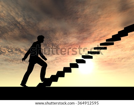 Concept conceptual 3D male businessman on stair or steps over sunset sky background metaphor to success, climb, business, rise, achievement, growth, job, career, leadership, education, goal or future - stock photo