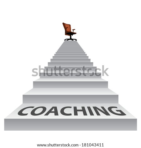 Concept conceptual 3d stair climbing to a leader, chief or promotion chair on top isolated white background, metaphor to career, business, success, achievement, winner, goal, step or victory - stock photo
