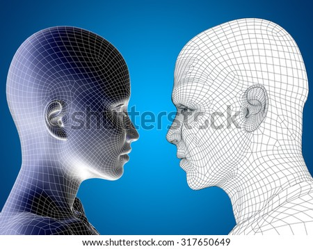 Concept conceptual 3D wireframe, mesh human male and female head on blue gradient background metaphor to body, tendon, spine, fit, builder, strong, biological, skinless, shape, posture, health medical - stock photo