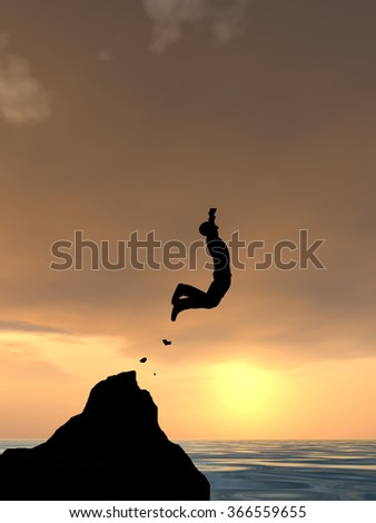 Concept conceptual 3D young man businessman silhouette jump happy from cliff over water gap sunset or sunrise sky background as metaphor to freedom, nature, mountain, success, free, joy, health risk - stock photo