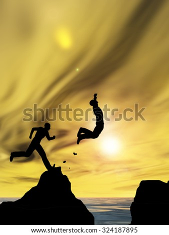 Concept conceptual 3D young man or businessman silhouette jump happy from cliff over water gap sunset or sunrise sky background metaphor to freedom, nature, mountain, success, free, joy, health risk
