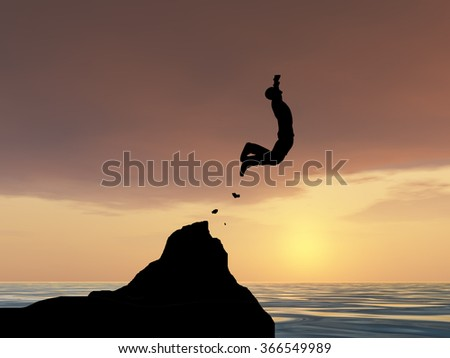 Concept conceptual 3D young man or businessman silhouette jump happy from cliff over water gap sunset or sunrise sky background metaphor to freedom, nature, mountain, success, free, joy, health risk - stock photo