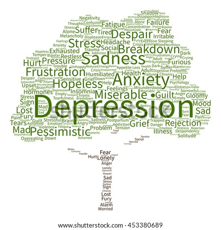 Concept conceptual depression or mental emotional disorder abstract tree word cloud isolated on background metaphor to anxiety, sadness, negative, sad, problem, despair, unhappy, frustration symptom - stock photo