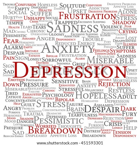Concept conceptual depression or mental emotional disorder square word cloud isolated on background metaphor to anxiety, sadness, negative, sad, problem, despair, unhappy, frustration symptom - stock photo