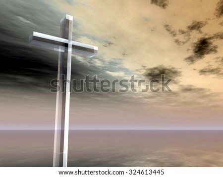 Concept conceptual glass cross or religion symbol silhouette on water landscape over a sunset sunrise sky with sunlight clouds background for God, Christ, Christianity, religious, faith, Jesus belief