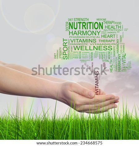 Concept conceptual green text word cloud tagcloud as tree in man or woman hand on rainbow sky background and grass, metaphor to health, nutrition, diet, body, energy, medical, sport, heart science - stock photo