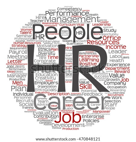 Concept conceptual hr or human resources management abstract round word cloud isolated on background metaphor to workplace, development, career, success, hiring, competence, goal, corporate or job