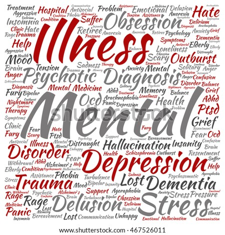 Concept conceptual mental illness disorder management or therapy abstract square word cloud isolated on background metaphor to healthcare, illness, degenerative, genetic, symptom or brain