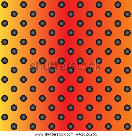 Concept conceptual orange abstract metal stainless steel aluminum perforated pattern texture mesh background as metaphor to industrial, abstract, technology, grid, silver, grate, spot, grille surface - stock photo