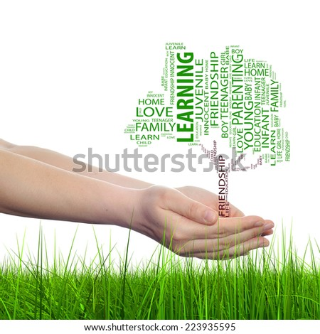 Concept conceptual text word cloud on man hand, tagcloud isolated on white background and grass, metaphor to business, team, teamwork, management, effective, success, communication, company or group - stock photo