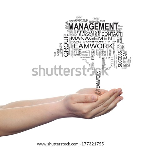 Concept conceptual text word cloud on man hand, tagcloud isolated on white background, metaphor to business, team, teamwork, management, effective, success, communication, company, group or symbol - stock photo