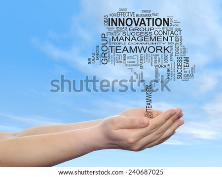 Concept conceptual text word cloud on man hand,tagcloud on blue sky  background, metaphor to business, team, teamwork, management, effective, success, communication, company, cooperation or symbol - stock photo