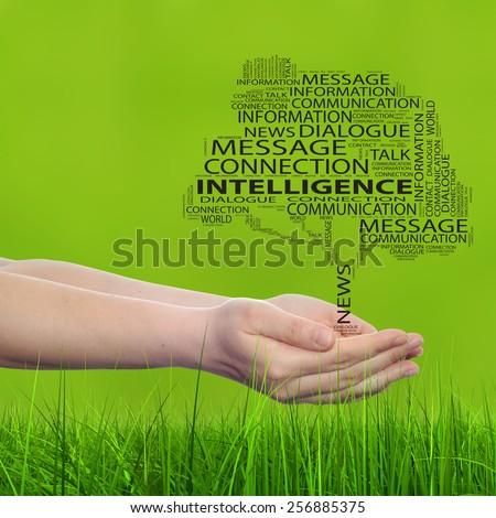 Concept conceptual tree word cloud tagcloud, man or woman hand on blur green background, metaphor to communication speech, message, mail, dialog, talk, contact, email, connection, news or internet - stock photo