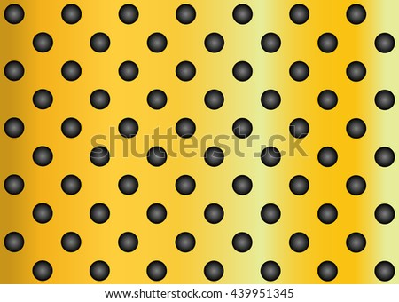 Concept conceptual yellow abstract metal stainless steel aluminum perforated pattern texture mesh background as metaphor to industrial, abstract, technology, grid, silver, grate, spot, grille surface - stock photo