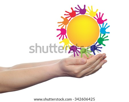 Concept conceptual yellow happy abstract sun with children hand print spiral or circle isolated on white background, metaphor to childhood, education, summer, spring, play or friendship - stock photo
