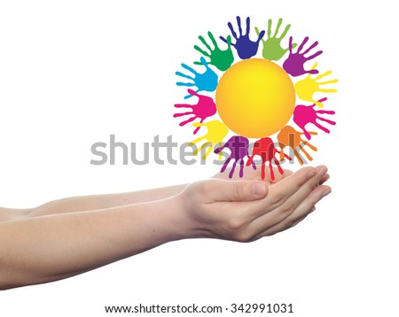 concept conceptual yellow happy abstract sun with children hand print spiral or circle isolated on white background - stock photo