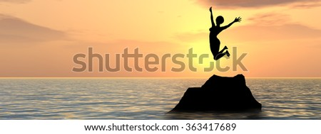 Concept conceptual young woman or businesswoman silhouette jump happy on cliff over water sunset or sunrise sky background banner metaphor to freedom, nature, vacation, success, free, joy, health risk - stock photo
