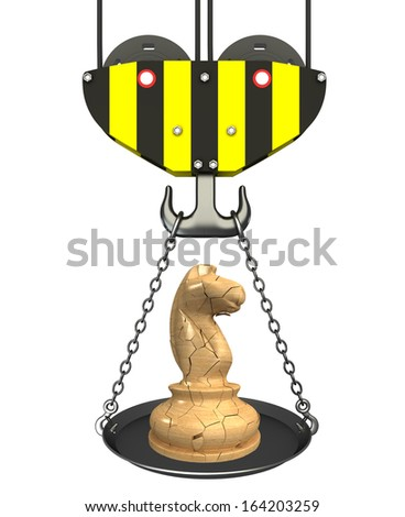 Concept. crane hook with bowl and chess knight. Isolated. white background. 3D - stock photo