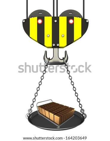 Concept. crane hook with bowl and Hand Truck, gold bars. Isolated. white background. 3D - stock photo