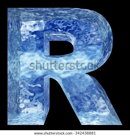 Concept 3D blue water or ice font part of set or collection isolated on black background for winter metaphor to summer, spring winter, fresh, frost, liquid, Christmas, eco, ecology, cold, drink cool