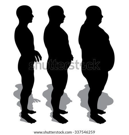 Concept 3D fat overweight vs slim fit diet with muscles young man silhouette isolated on white background metaphor weight loss, body, fitness, fatness, obesity, health, healthy, male, dieting, shape - stock photo