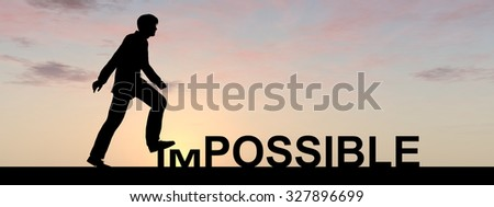 Concept 3D human man or businessman as black silhouette stepping over impossible or possible text at sunset banner metaphor to success, challenge, motivation, achievement, business, goal or hope - stock photo