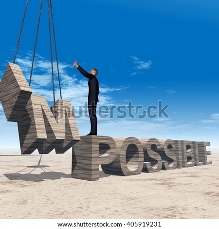Concept 3D illustration of business man standing over abstract stone impossible text on sky background for success, career, work, job, achievement, development, growth, progress, vision, possible - stock photo