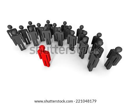concept 3d leaqder man icon behind large team group. leadership 3d render illustration - stock photo
