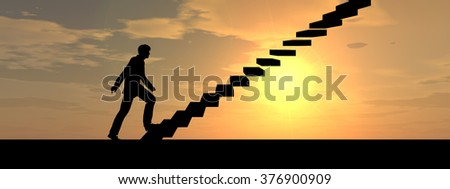 Concept 3D male businessman on stair or steps over sunset sky background banner metaphor to success, climb, business, rise, achievement, growth, job, career, leadership, education, goal or future - stock photo