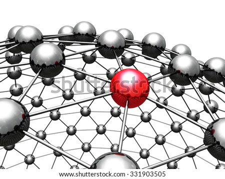 Concept 3d Red Leader Sphere In Group. 3d Render Illustration - stock photo
