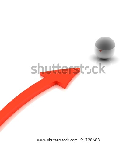 Concept. 3d rendering of an arrow to the chrome ball - stock photo