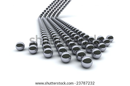 Concept. 3d rendering of chrome balls forming an arrow - stock photo