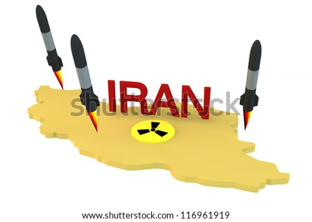 Concept 3d rockets launch from Iran model with nucliar logo on white background - stock photo