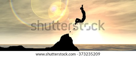Concept 3D young man or businessman silhouette jump happy from cliff over water gap sunset or sunrise sky background banner as metaphor to freedom, nature, mountain, success, free, joy, health risk - stock photo