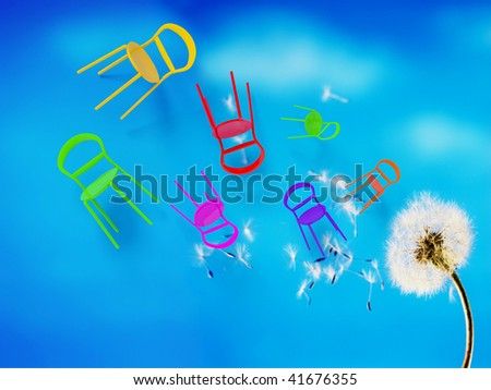 concept dandelion with colored chairs - stock photo