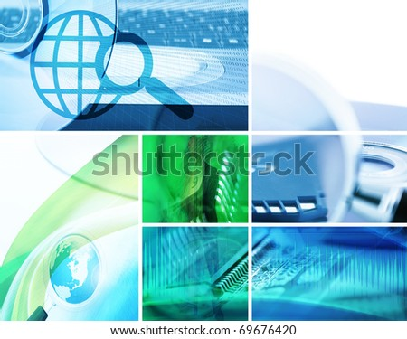 concept data collage; global technology background