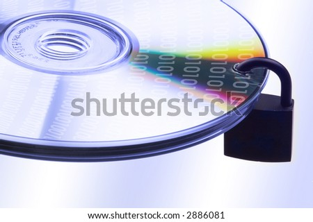 concept data security with binary code on DVD disc - stock photo