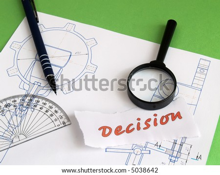 Concept decision: magnifier, pencil and eraser on draft on green - stock photo