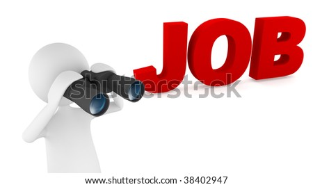 Concept depicting 3D man looking for job with the help of binoculars - stock photo