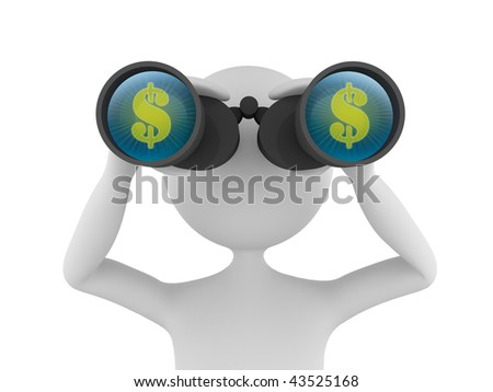 Concept depicting 3D man looking for profit in dollars with the help of binoculars - stock photo
