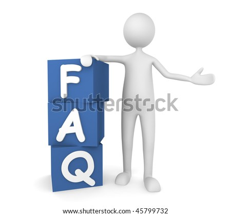 Concept depicting man leaning on to FAQ boxes; great for web sites, advertisements, help concepts. - stock photo