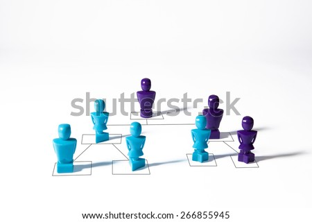 Concept depicting organizational hierarchy corporate chart, isolated on white background with copy space - stock photo