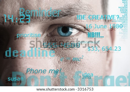 Concept depicting thoughts, mental states, and modern day stress - stock photo