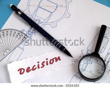 Concept 'desicion': magnifier, pencil, draught on blue - stock photo