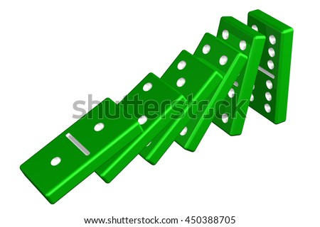 Concept: domino effect, isolated on white background. 3D rendering. - stock photo