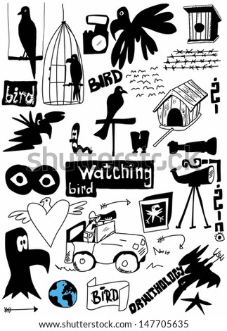 concept doodle bird watching, hand drawn - stock photo