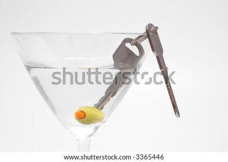Concept: Drinking and driving don't mix. - stock photo