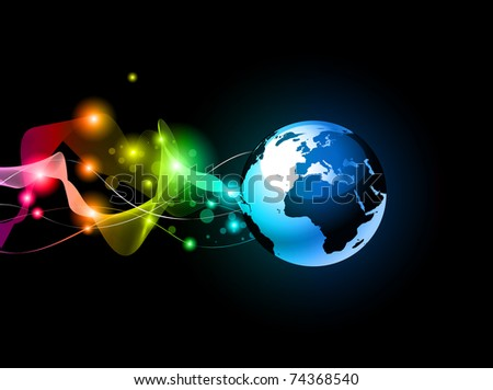 Concept Earth Planet Design for Technology Futuristic Poster or Flyers - stock photo